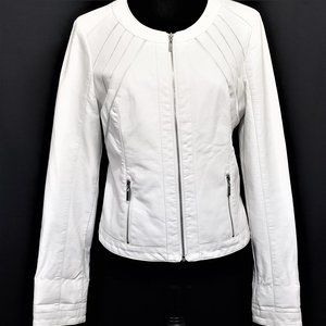 Guess White Fitted Moto Jacket Women's Size Medium